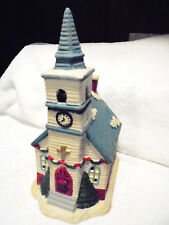 """LIGHTED CERAMIC """"CHURCH WITH STEEPLE""""  FOR CHRISTMAS VILLAGE.....PRETTY...LOT#3"""
