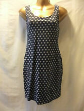 LADIES New Look 14 NAVY BLUE STRETCH/DITSY DAISY PRINT/BODYCON-FIT/VEST FROCK