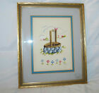 VINTAGE ORIGINAL FRAMED WATERCOLOR PAINTING OF A FARM WELL SIGNED BY ARTIST