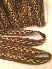 "5/8""W FLAT TRIM-By The Yard- 2 BROWNS/BLACK/TAN-GOLD.Use FRONT OR BACK!"