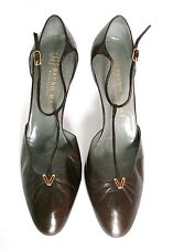 UK 6 - Bruno Magli Vintage Shoes- 1980s Brown leather T-Bar