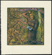Color Woodcut Bookplate by JOSEF VACHAL 1936 | Exlibris