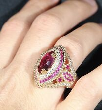 TURKISH HANDMADE RUBY STERLING SILVER 925K BRONZE RING SIZE 10