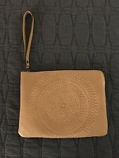 Patricia Nash Wheat/Beige Tooled Italian Leather Cassini Wristlet Pouch