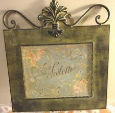 HOME DECORATION METAL ANTIQUE DESIGN PAINTED LA TOILETTE WALL HANGING PLAQUE