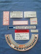 NEW FORD XW GT FALCON ENGINE BAY DECAL KIT WINDSOR AND CLEVELAND ENGINES