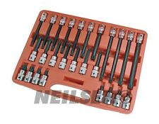 "26 Piece Multi Spline Bit Set Male 12 Point, M5 to M16 Star Torx Socket 1/2"" New"