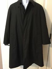 English Squire Vintage Men's Black Trench Coat Removable Fur Liner Size 40 EUC