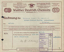 CHEMNITZ, Rechnung 1915, Drogen, Chemikalien, Farben, Pepsinwein W. Deutrich