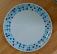 Quest 'Blue Squares' plastic DINNER PLATE, retro, camping, campervan