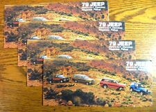 1979 Jeep Brochure LOT (4) pcs, CJ-5 CJ-7 Cherokee Wagoneer Pickup Xlnt Original