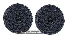 black diamond .25 carat 10K black gold unisex stud earrings screwback men