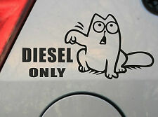 Simon's Cat Diesel Only Funny Humor Vinyl Sticker Decal Auto Car Black White