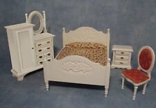 White Bedroom Set, Dolls House Miniature, Furniture, 1.12th Scale