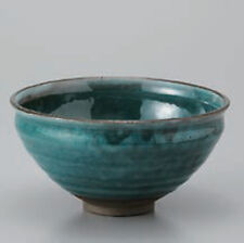 Mino ware pottery Japanese tea ceremony bowl Matcha chawan blue natsu wan