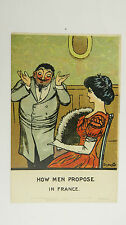 1910s Vintage Comic Sydney Carter Postcard Marriage Proposal Frenchman Gallic