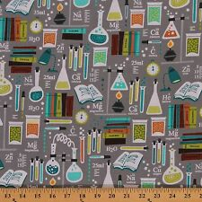 Academic Club Chemistry Science Physics Grey Cotton Fabric Print by Yard D474.23