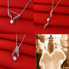 Novel  Silver Crystal White Zircon Flower Angel Wing Necklace  3 Ways To Wear
