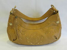 Via Spiga TAN Leather Small Hobo Bag/Gold Studs/Leather Accents & Single Strap