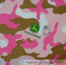 BonEful Fabric FQ Cotton Quilt Pink Brown White John Deere Girl Baby Camo Print