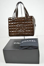 AUTHENTIC CHANEL CC BROWN PATENT LEATHER QUILTED BOSTON HANDBAG S80127