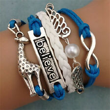 Infinity Giraffe believe wings Friendship Antique Leather Charm Bracelet  HOT