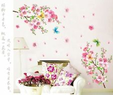 Colorful Butterfly Peach Flower Wall Stickers PVC Art Decals Bedroom Home Decor