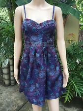 NWT $148 Free People Purple Foiled Tapestry Floral Jacquard Bustier Dress 8