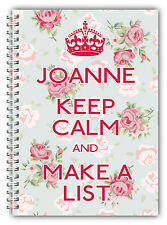 PERSONALISED NOTEBOOKS /50 LINED PAGES/KEEP CALM A5 NOTEBOOK/ GIFT FOR ALL/K8