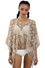 Boho Festival  Urban Mist Stone  Lace Poncho Style Tunic Layered Top  Is