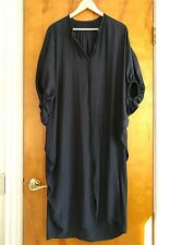 JEANNE LANVIN Navy Blue V Neck Gathered Detail Draped Blouson Dress Sz L