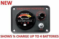 NEW 4 Battery Energy Fuel Gauge Panel Marine Boat RV Panther Deep Cycle Starting
