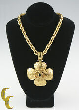 Gorgeous Vintage Chanel Clover Chunky Gold Plated Necklace Pendant 89.0 grams