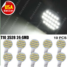 10 x Pure White 24 SMD LED T10 194 W5W 1210 Landscaping Light Lamp Bulbs
