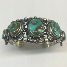 Native American Navajo Indian Sterling Silver Royston Turquoise Cuff Bracelet