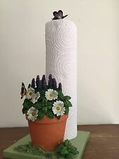Spring Daisies Herbs Garden Butterfly Paper Towel Holder Flowers Kitchen Decor