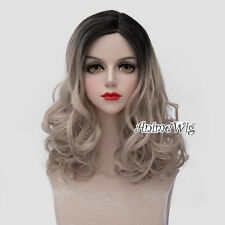 Lolita Cosplay Party Heat Resistant Black Mixed Ash Blonde Long 45CM Curly Wig