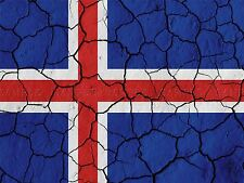 PAINT ABSTRACT FLAG CRACKED CONCRETE ICELAND RED WHITE BLUE CROSS PRINT BMP10285