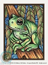 © ART - Handsome Fat GREEN TREE FROG Wildlife Animal Original artist print by Di