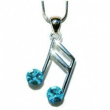 w Swarovski Crystal piano ~Aqua Blue MUSIC NOTE musical Jewelry Pendant Necklace