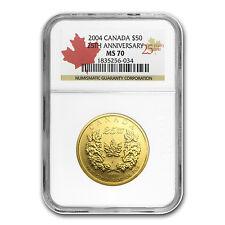 2004 Canada 1 oz Gold Maple Leaf MS-70 NGC (25th Anniv) - SKU #1273