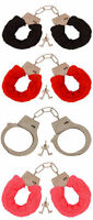 METAL RED BLACK PINK FLUFFY FURRY HANDCUFFS FANCY DRESS SEXY ROLE PLAY NIGHT TOY