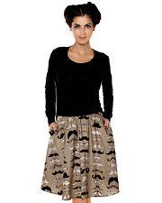 *Cute Folter Multi Mustache Printed Full Swing Pocket Knee Skirt Hipster L