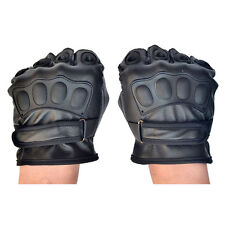 Men Driving Gloves Soft PU Leather Motorcycle Biker Fingerless Warm Gloves New