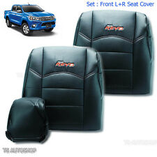 Front Blk Leather Sport Seat Headrest Cover Fit Toyota Hilux Revo Sr5 2015-2017