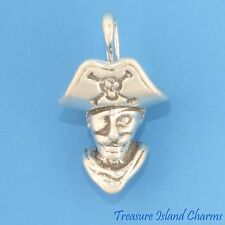 PIRATE CAPTAIN 3D .925 Solid Sterling Silver Charm PENDANT NEW