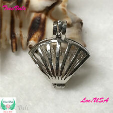 Sea Shell Pearl Cage Pendant - Silver Plated Fit Up To 9mm Fun Gift!!