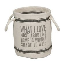 WHAT I LOVE MOST ABOUT MY HOME - Lg Round Storage Tote Bin - Primitives By Kathy