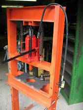 "12 Ton Shop Press UPGRADE adds AIR HYDRAULIC  SPEED + STEEL 7"" X 7"" X-Bar Plates"