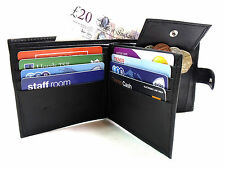Mens New High Quality Genuine Black Leather Wallet Credit Card Holder Coin Pouch